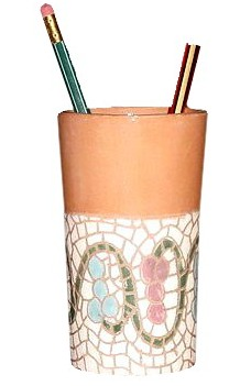 clay artwork pencil holder with mosaic engravings